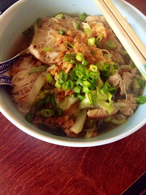 Pork noodle soup ready to serve